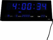 LED digitale Wanduhr mit Datum- & Temperaturanzeige, Maße: 36 cm x 15 cm x 3 cm (Farbe: Blau) Goldfull®