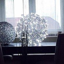 LED Drahtkugel/Bodenleuchte 55 cm, silber, IP44,