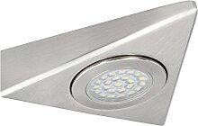 LED Dreiecksleuchte in Stahl gebürstet - Anbaulampe für Küche, Möbel & Schränke - Aufbauleuchte LED 230V mit 1,5W warmweiß