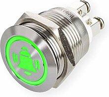 LED Drucktaster mit Glocken-Symbol, Einbau Ø 19