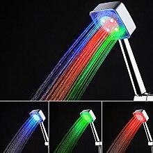 LED-Duschkopf mit Temperaturregler, 3 Farben und 7