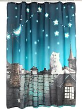 LED-Duschvorhang Katze, blau