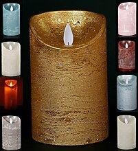 LED Echtwachskerze - Gold Rustik - D7,5cm / H12,50cm - mit Wackelflamme - Batteriebetrieben - Timerfunktion - Weihnachtsdeko
