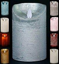 LED Echtwachskerze - Silber Rustik - D7,5cm /