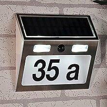 LED Edelstahl Solar Hausnummer mit Bewegungsmelder
