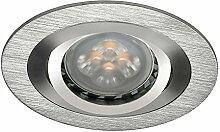 LED Einbau-Strahler, Einbaulampe, Einbauleuchte 1 flg. Druckguss, rund, schwenkbar, 5 Watt Warmweiss, Aluminium gebürste