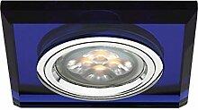 LED Einbau-Strahler, Einbaulampe, Einbauleuchte 1 flg. Glas, eckig, 4 Watt Warmweiss, Blau