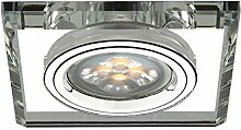 LED Einbau-Strahler, Einbaulampe, Einbauleuchte 1 flg. Glas, eckig, 3 Watt Warmweiss, Transparen