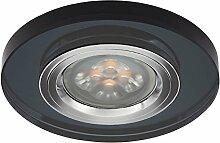 LED Einbau-Strahler, Einbaulampe, Einbauleuchte 1 flg. Glas, rund, 3 Watt Warmweiss, Schwarz