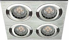 LED Einbau-Strahler, Einbaulampe, Einbauleuchte 4 flg. Druckguss, eckig, schwenkbar, 3 Watt Warmweiss, Aluminium gebürste