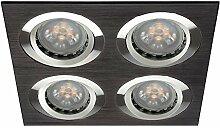 LED Einbau-Strahler, Einbaulampe, Einbauleuchte 4 flg. Druckguss, eckig, schwenkbar, 4 Watt Warmweiss, Aluminium Schwarz gebürste
