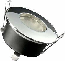 LED Einbau-Strahler für Bad, [Feuchtraum IP65], Einbau-Leuchte RW-1 chrom, SMD 3,5W warm-weiß, GU10 230V [FÜR IHR BAD...aber nicht nur, leichter EINBAU, tolle LEUCHTKRAFT, LICHTQUALITÄT, VERARBEITUNG] für Innen Außen, Carport Vordach