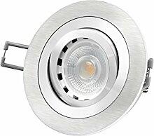 LED Einbau-Strahler RF-2 schwenkbar, Einbau-Leuchte Aluminium gebürstet, 4,3W [dimmbar, warm-weiß] GU10 230V [IHRE VORTEILE: einfacher EINBAU, hervorragende LEUCHTKRAFT, LICHTQUALITÄT und VERARBEITUNG] auch für Carport und Vordach