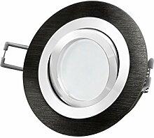 LED Einbau-Strahler RF-2 schwenkbar, Einbau-Leuchte Aluminium gebürstet schwarz eloxiert, 5W SMD warm-weiß, GU10 230V [IHRE VORTEILE: einfacher EINBAU, hervorragende LEUCHTKRAFT, LICHTQUALITÄT und VERARBEITUNG] auch Carport / Vordach