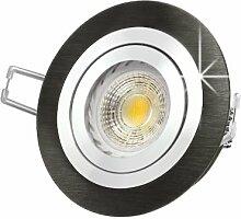 LED Einbau-Strahler RF-2 schwenkbar, Einbau-Leuchte Aluminium gebürstet schwarz eloxiert, SMD 3,5W warm-weiß, GU10 230V [IHRE VORTEILE: einfacher EINBAU, hervorragende LEUCHTKRAFT, LICHTQUALITÄT und VERARBEITUNG] Carport / Vordach