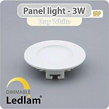 LED Einbauleuchte weiß 3 Watt rund 8,5cm neutral