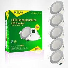 LED Einbauleuchten Dimmbar IP44 Farbe Silber 5 x