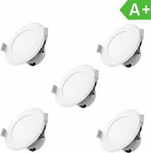 LED Einbauleuchten Dimmbar IP44 Farbe Weiss 5 x