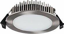 LED Einbaustrahler, 13W, IP54, rund, nickel