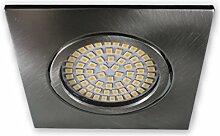 LED Einbaustrahler 230 V S0307 eckig alu