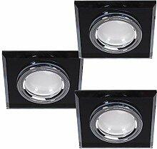 LED Einbaustrahler 3er Set Glas Schwarz 3-fach