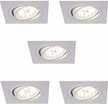 LED-Einbaustrahler 5er Set eckig | Einbauleuchte