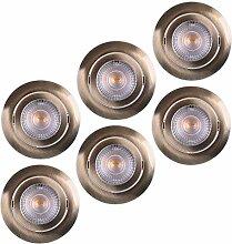 LED Einbaustrahler 6x Ultraflach 5 Watt Bronze
