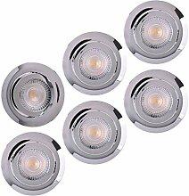 LED Einbaustrahler 6x Ultraflach 5 Watt Chrom