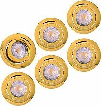 LED Einbaustrahler 6x Ultraflach 5 Watt Gold