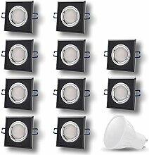 LED Einbaustrahler aus Glas/Spiegel / Schwarz