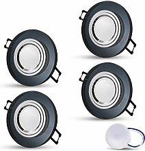 LED Einbaustrahler aus Glas/Spiegel/Schwarz