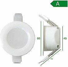 LED Einbaustrahler Bad 6cm 30mm Bohrlochtiefe IP44 Einbauspot Lampe Badleuchten Panel (kaltweiß - 6cm - 4W)
