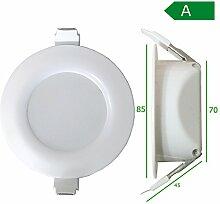 LED Einbaustrahler Bad 6W 8,5cm 30mm Bohrlochtiefe IP44 Einbauspot Lampe Badleuchten Panel (warmweiß - 8,5cm - 6W)