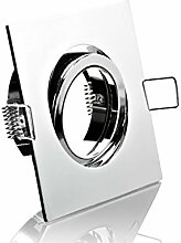LED Einbaustrahler chrom 4-eckig mit