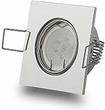 LED Einbaustrahler Chrom eckig 3W kaltweiß 12V