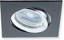 LED-Einbaustrahler eckig schwarz, LED 5W