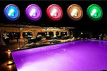 LED-Einbaustrahler für das Schwimmbecken, rot / grün / blau + weiß, 36LEDs zum Einbauen, 95x 90mm
