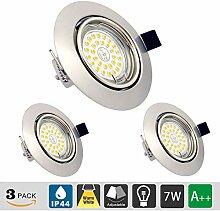 LED Einbaustrahler GU10 7W, 3er Set LED Deckenspot