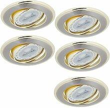 LED-Einbaustrahler mit goldenen Elementen   5er