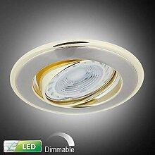 LED-Einbaustrahler mit goldenen Elementen |