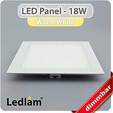 LED Einbaustrahler Panel weiss quadratisch 22 x