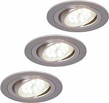 LED-Einbaustrahler rund | Einbauleuchte Alu 3er