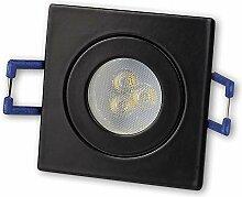 LED Einbaustrahler Schwarz - eckig 3W kaltweiß