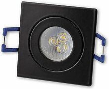 LED Einbaustrahler Schwarz - eckig 3W warmweiß