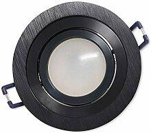 LED Einbaustrahler Schwarz - rund 7W kaltweiß 12V