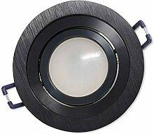LED Einbaustrahler Schwarz - rund 7W warmweiß 12V