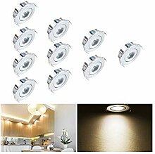 LED Einbaustrahler Set 10er, 1W LED Deckenstrahler