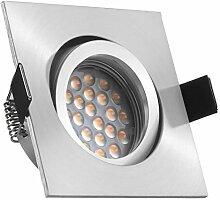 LED Einbaustrahler Set Aluminium matt mit LED GU10