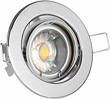 LED Einbaustrahler Set Chrom mit COB LED GU10