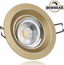 LED Einbaustrahler Set Gold mit COB LED GU10